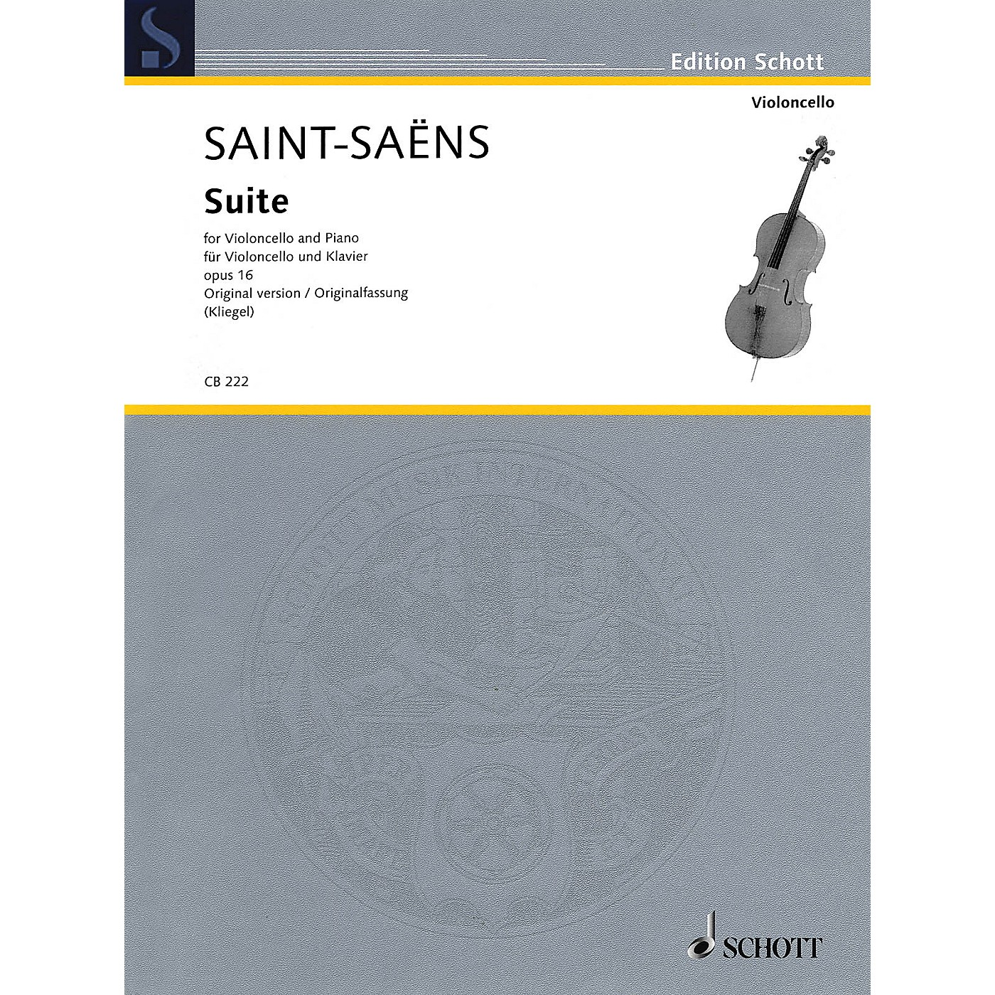 Schott Suite, Op. 16 Schott Series Softcover Composed by Camille Saint-Saens Edited by Maria Kliegel thumbnail