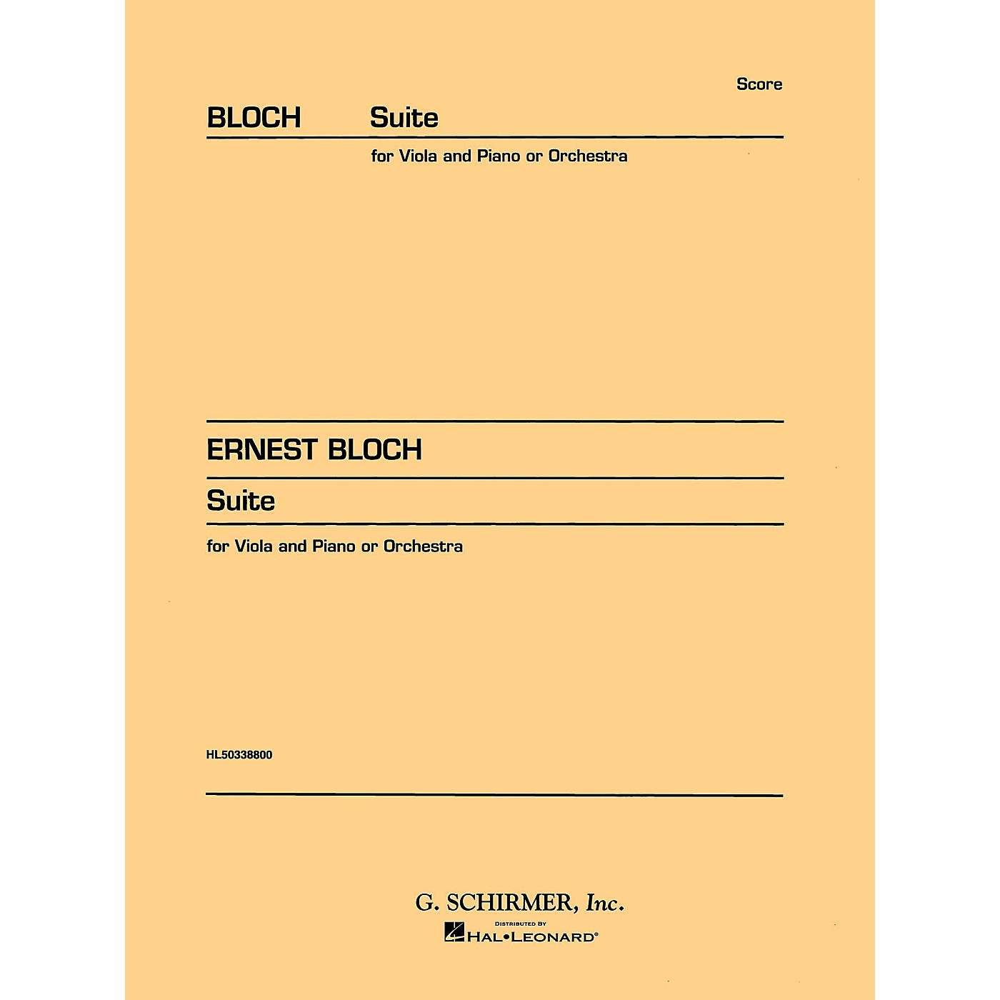 G. Schirmer Suite for Viola (or Cello) and Orchestra (Study Score No. 146) Study Score Series Composed by Ernst Bloch thumbnail