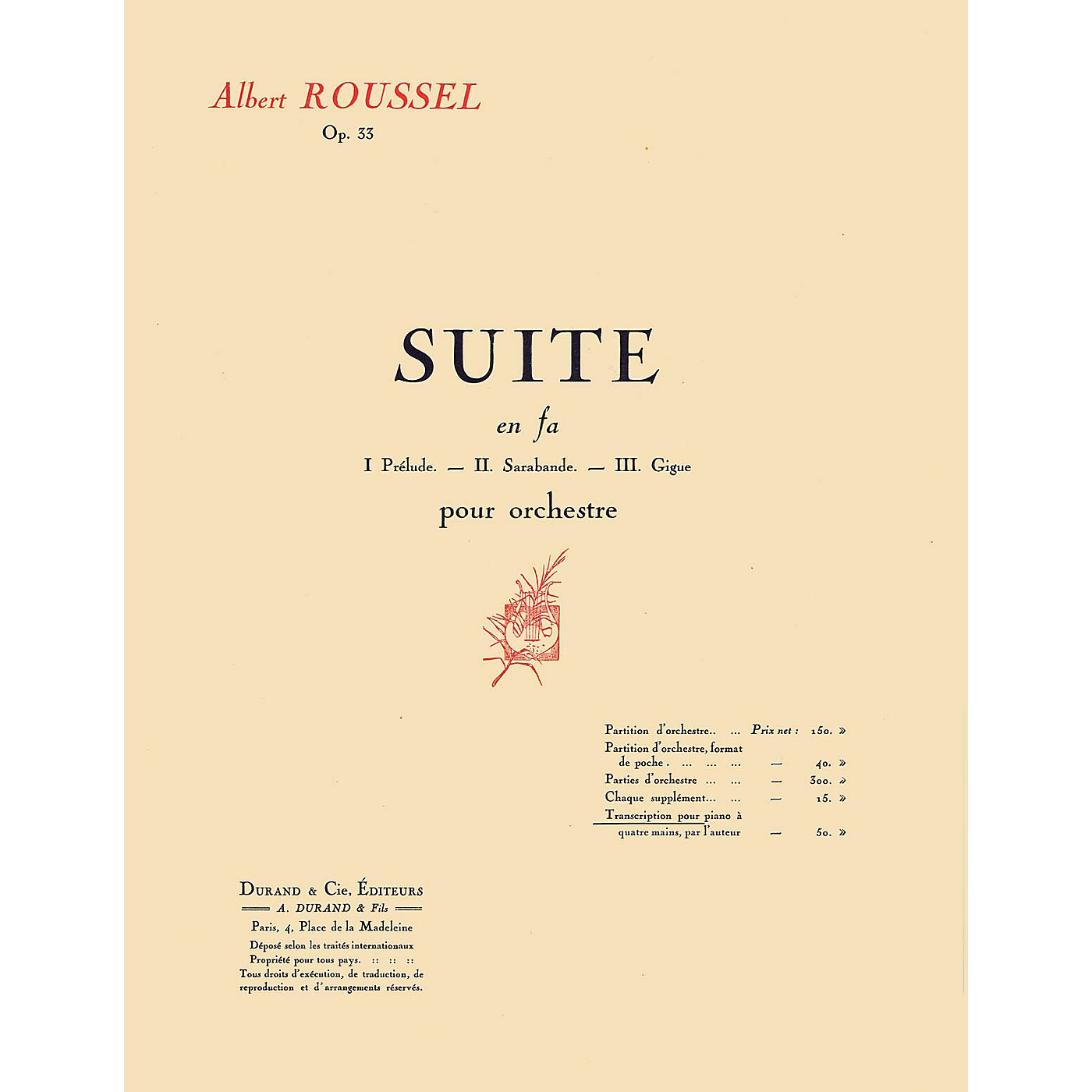 Editions Durand Suite in F, Op. 33 (Transcription for 1 Piano 4 Hands) Editions Durand Series Softcover by Albert Roussel thumbnail