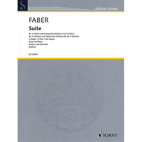 Schott Suite in G Major String Ensemble Series Softcover Composed by Johann Christoph Faber thumbnail