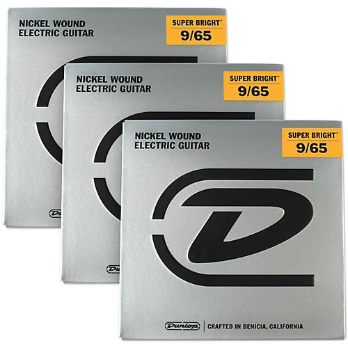 Dunlop Super Bright Light Nickel Wound 8-String Electric Guitar Strings (9-65) 3-Pack thumbnail