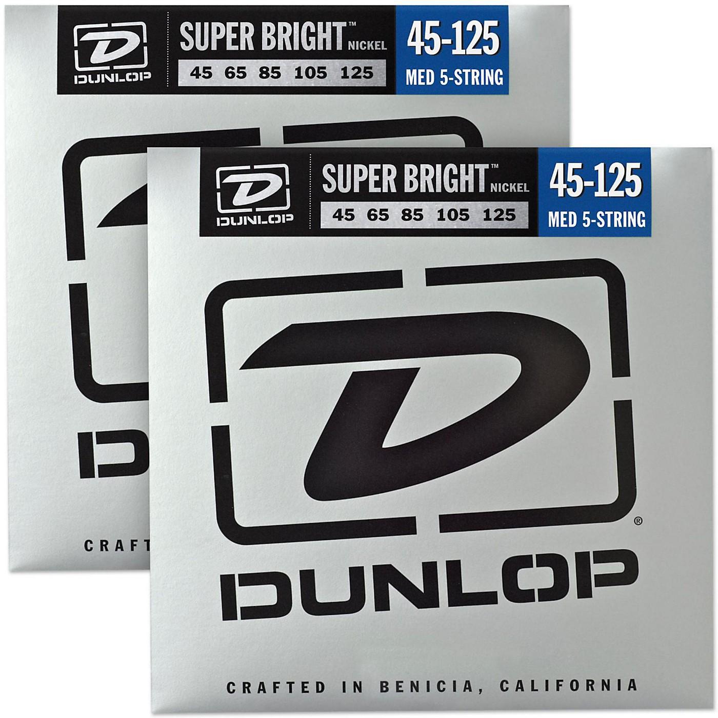 Dunlop Super Bright Nickel Medium 5-String Bass Guitar Strings (45-125) 2-Pack thumbnail
