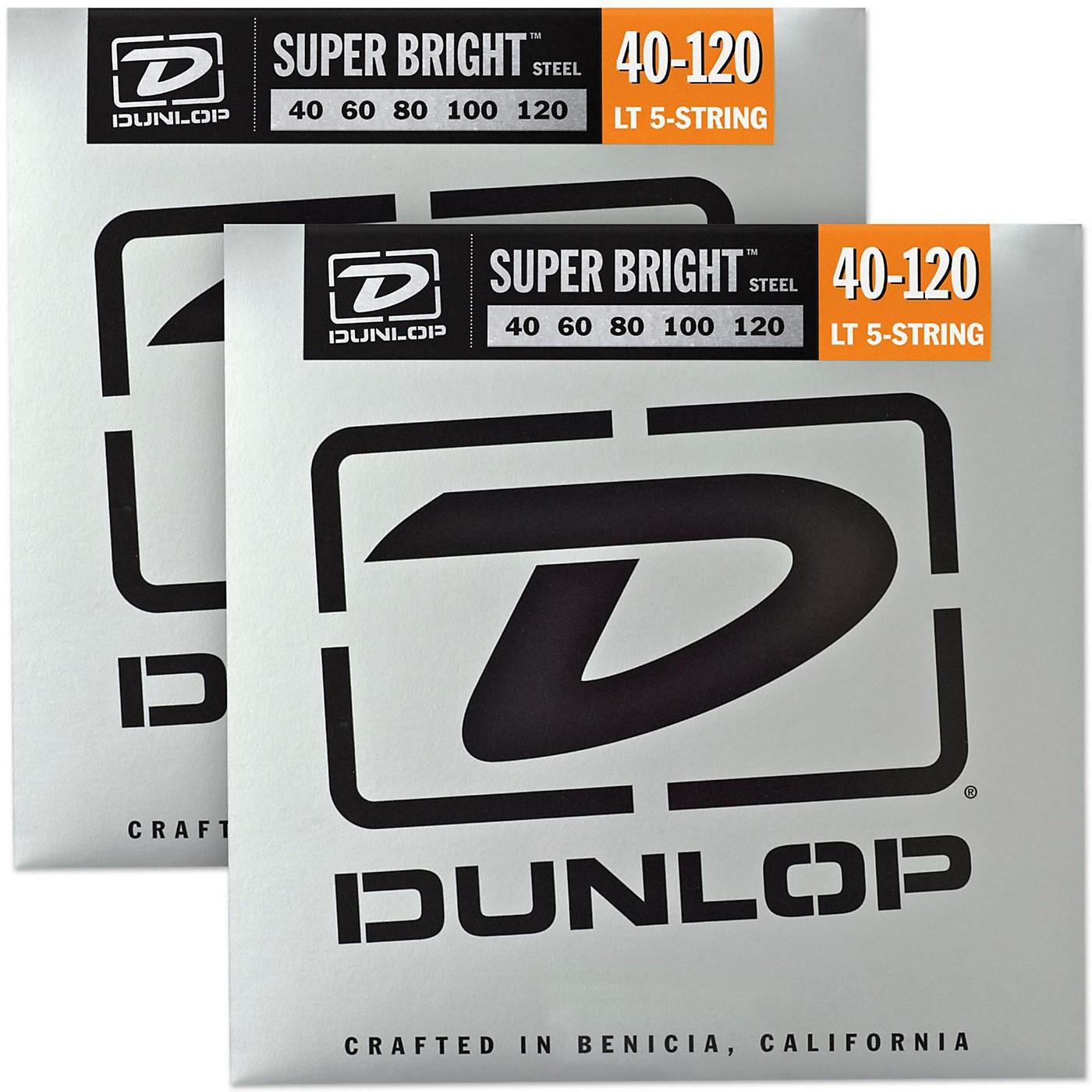 Dunlop Super Bright Steel Light 5-String Bass Guitar Strings (40-120) 2-Pack thumbnail