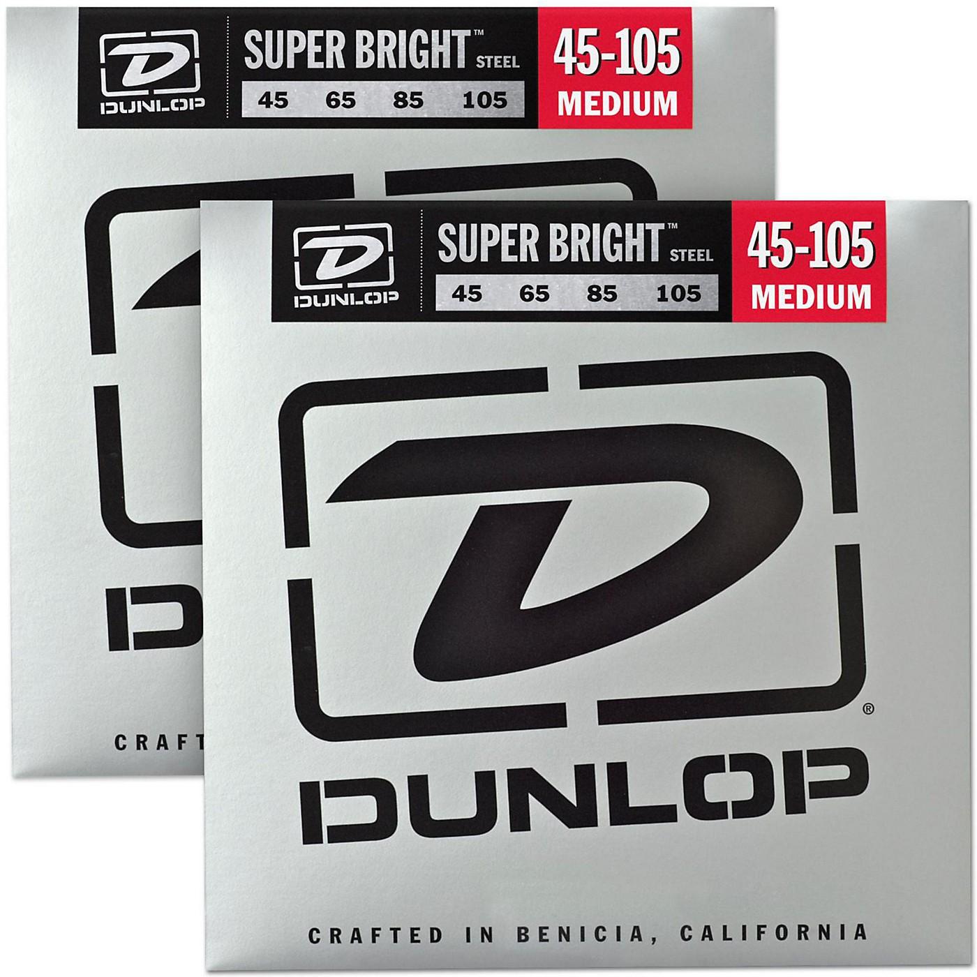 Dunlop Super Bright Steel Medium 4-String Bass Guitar Strings (45-105) 2-Pack thumbnail