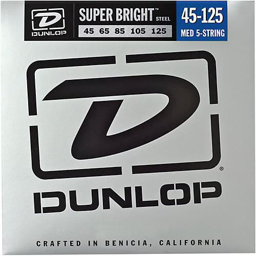 Dunlop Super Bright Steel Medium 5-String Bass Guitar Strings thumbnail