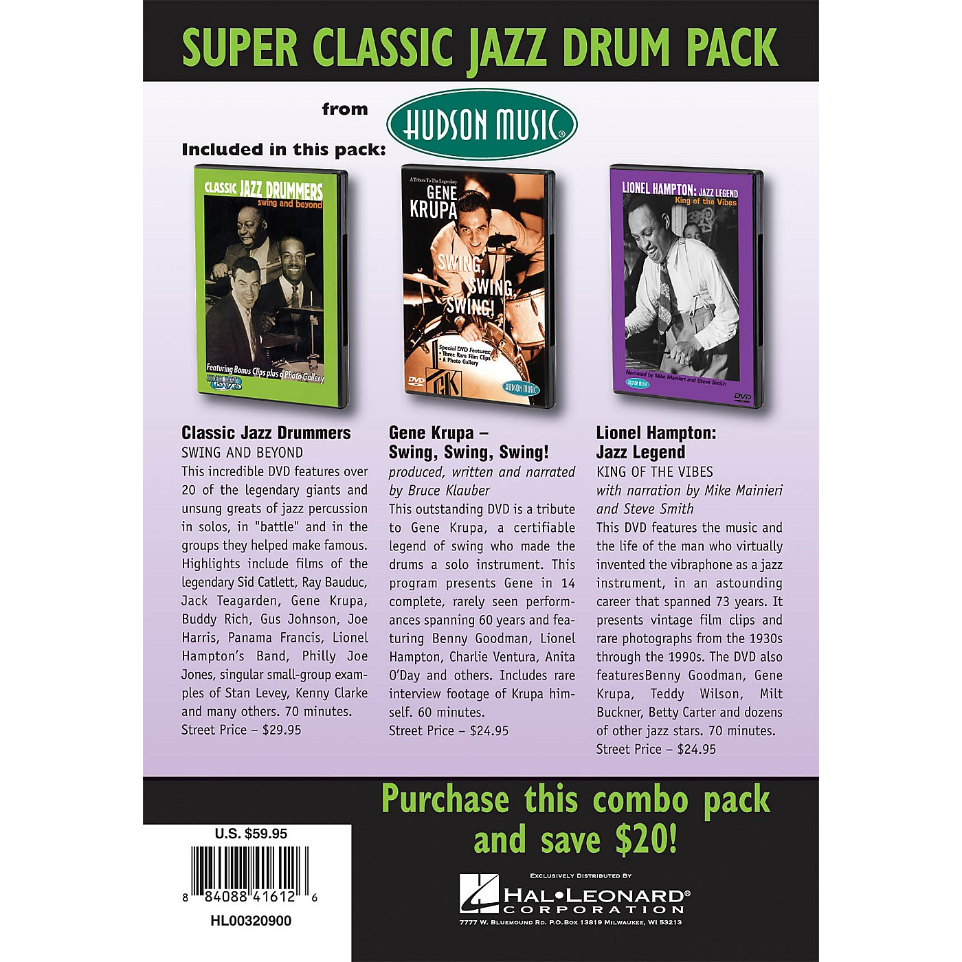 Hudson Music Super Classic Jazz Drum Pack 3-DVD Set DVD Series DVD Performed by Various thumbnail