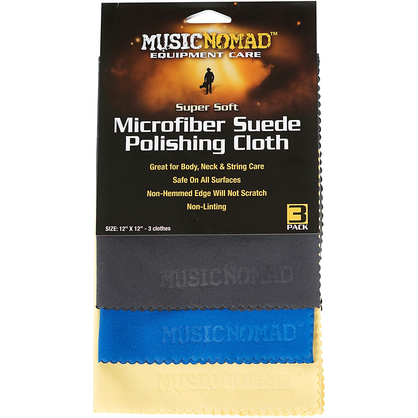 MusicNomad Super Soft Microfiber Suede Polishing Cloth - 3 Pack thumbnail