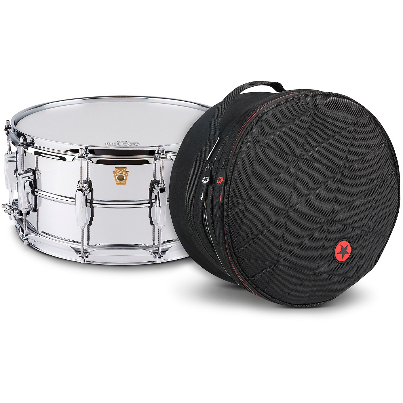 Ludwig Supraphonic Snare Drum Chrome with Road Runner Bag thumbnail