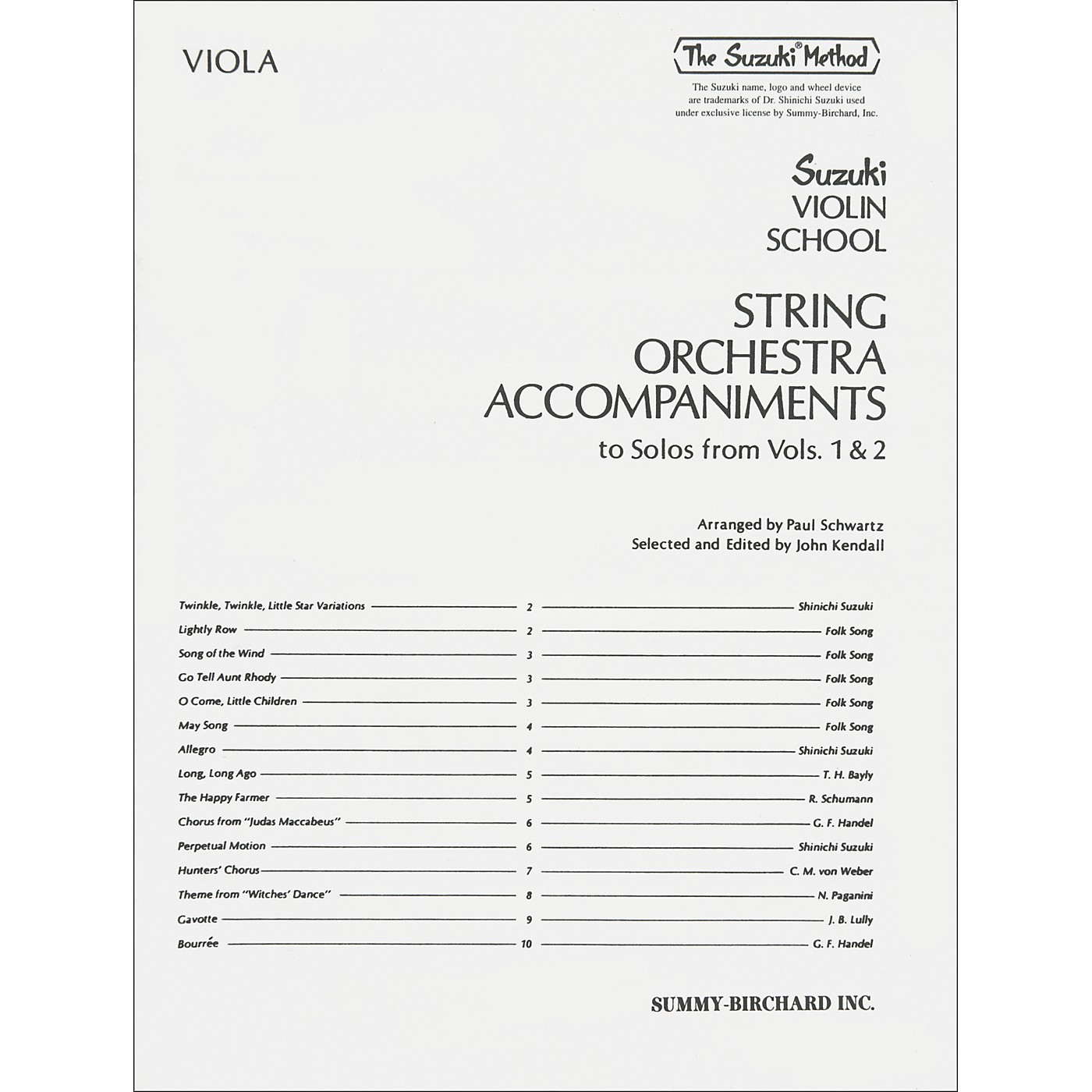 Alfred Suzuki String Orchestra Accompaniments to Solos from Volumes 1 & 2 for Viola Book thumbnail