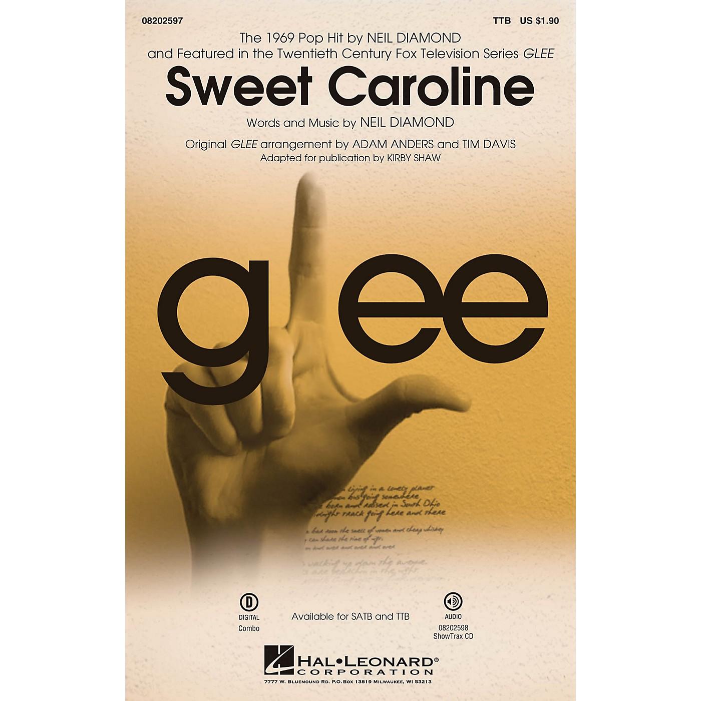 Hal Leonard Sweet Caroline (from Glee) TTB by Neil Diamond arranged by Adam Anders thumbnail