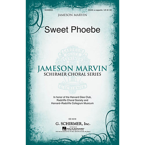 G. Schirmer Sweet Phoebe (Jameson Marvin Choral Series) SSAA A CAPPELLA arranged by Jameson Marvin thumbnail