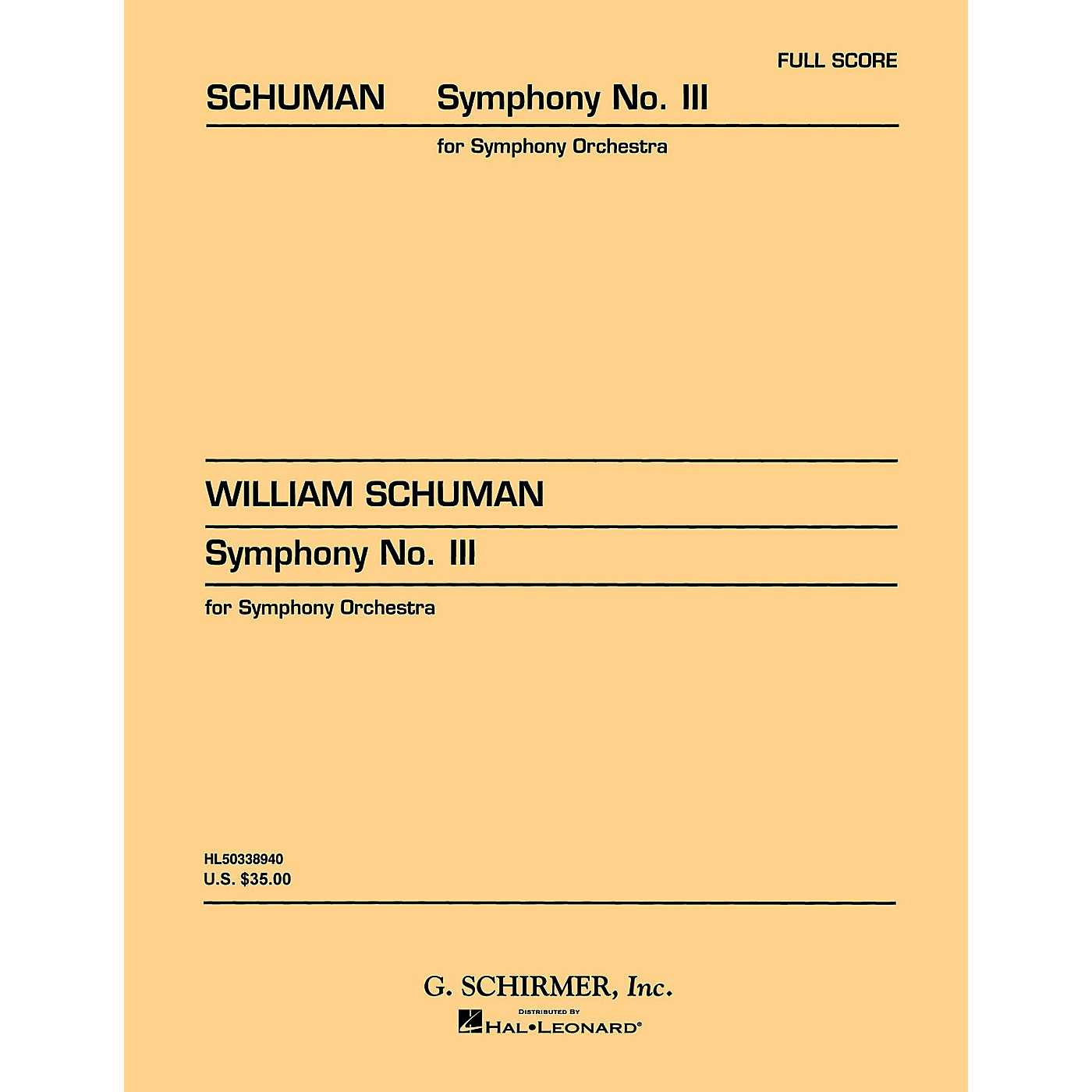 G. Schirmer Symphony No. 3 (Study Score No. 27) Study Score Series Composed by William Schuman thumbnail
