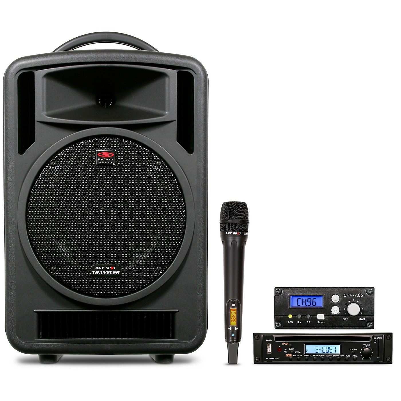 Galaxy Audio TV10-C010H000G Galaxy Audio Traveler 10 Portable PA System With CD Player, One Wireless Receiver, And One Handheld Microphone thumbnail