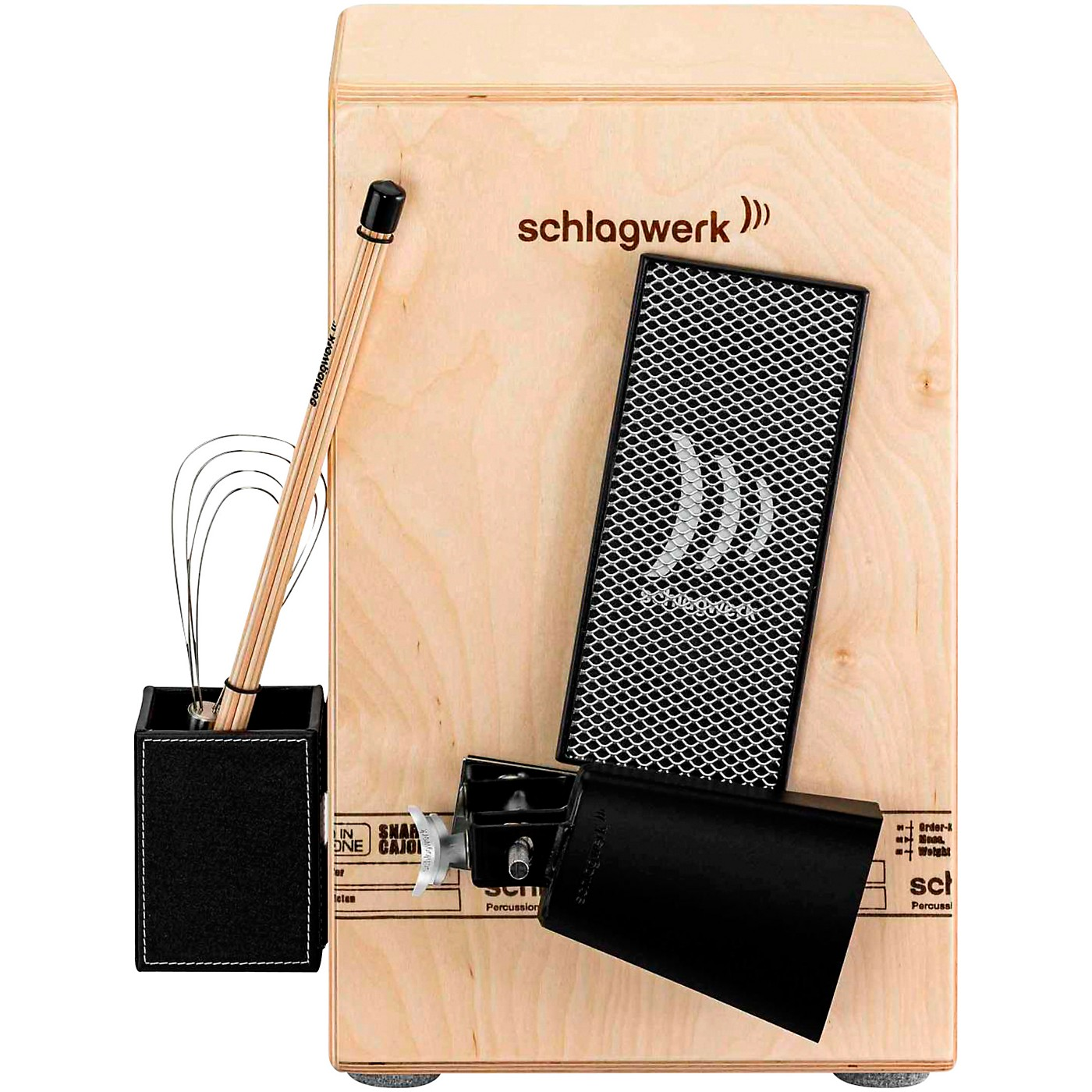 SCHLAGWERK Take Five Percussion Set - Cowbell, Scratch Board / Scratcher, Brush Boy & Rod Percussion Holder thumbnail