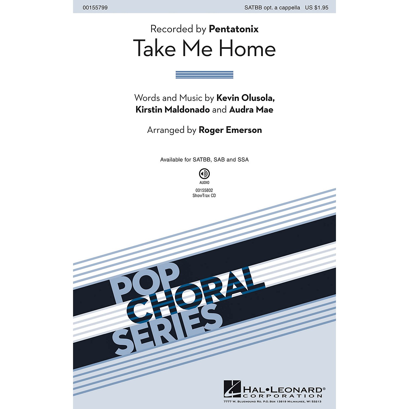 Hal Leonard Take Me Home SATBB OPTIONAL A CAPPELLA by Pentatonix arranged by Roger Emerson thumbnail