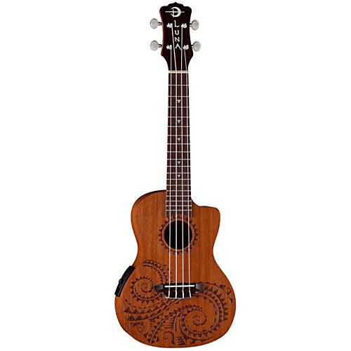 Luna Guitars Tattoo Mahogany Concert Acoustic-Electric Ukulele thumbnail