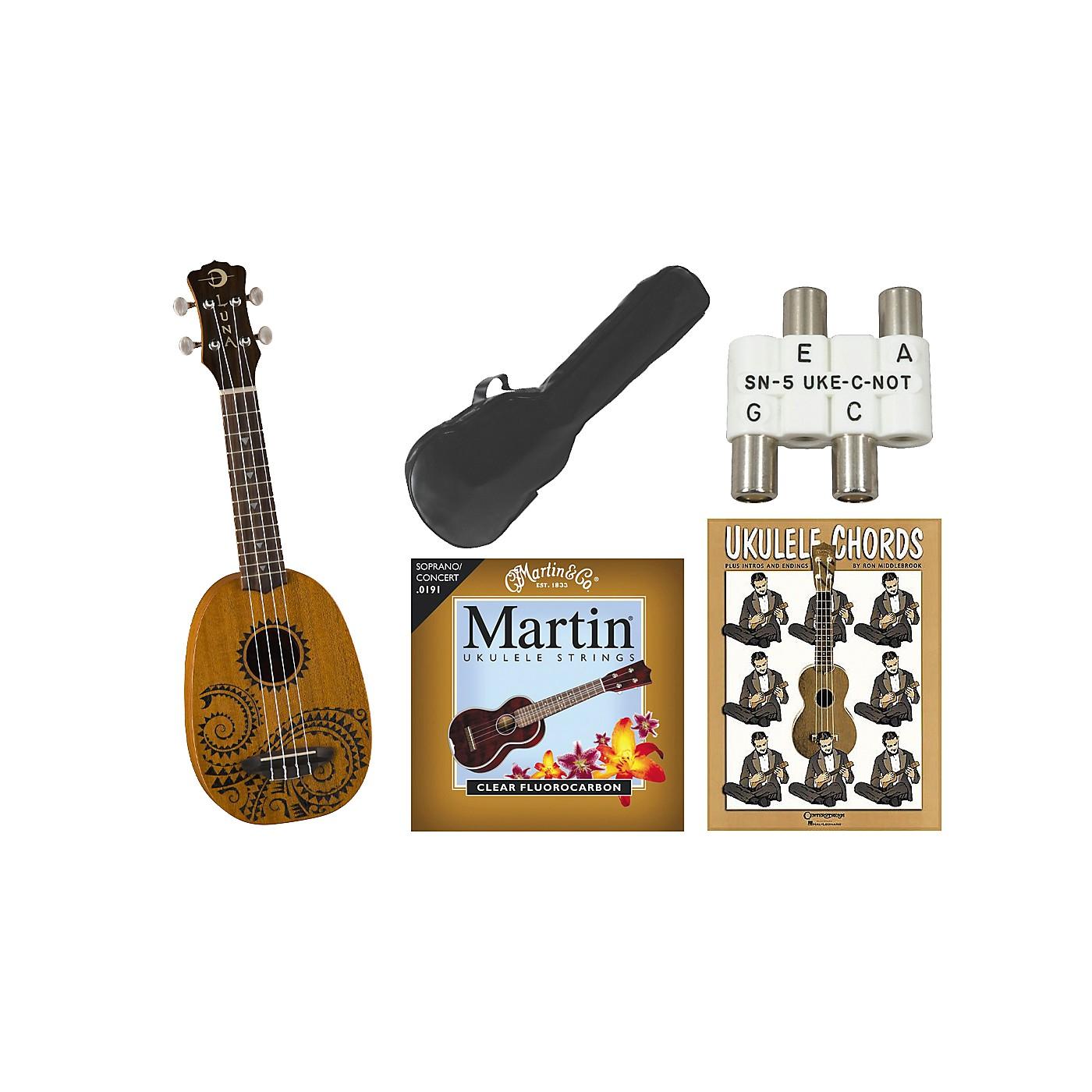 Luna Guitars Tattoo Pineapple Soprano Ukulele Bundle thumbnail