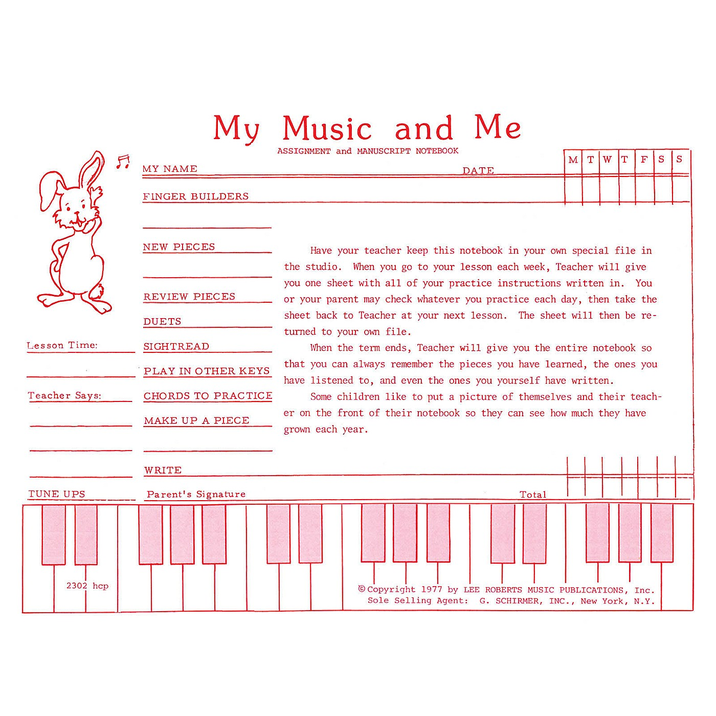 Lee Roberts Teaching Aids, My Music & Me - Primary Manuscript and Assignment Diary Pace Piano Education Series thumbnail