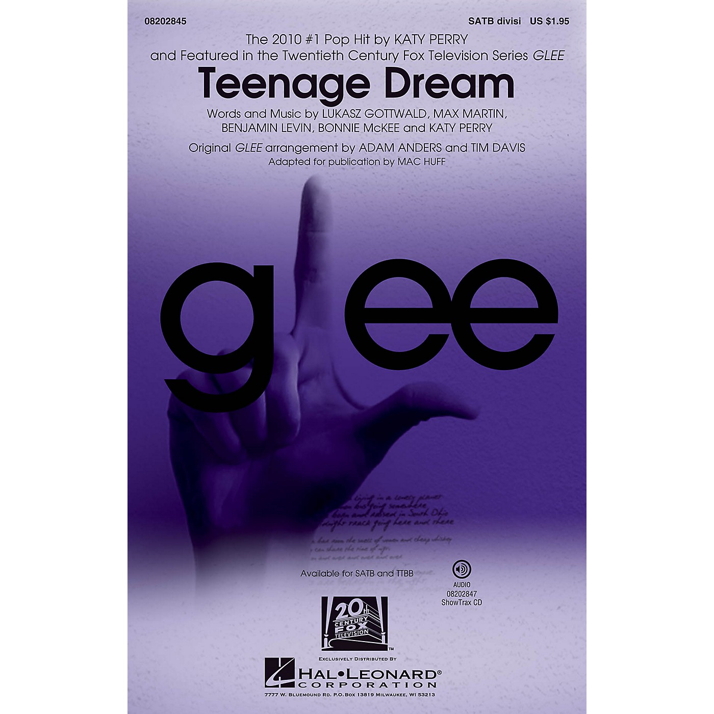 Hal Leonard Teenage Dream (featured in Glee) TTBB DIVISI by Katy Perry Arranged by Mac Huff thumbnail
