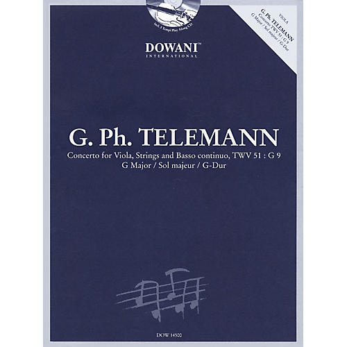 Dowani Editions Telemann: Concerto for Viola, Strings and Basso Continuo TWV 51:G9 in G Major Dowani Book/CD Series thumbnail