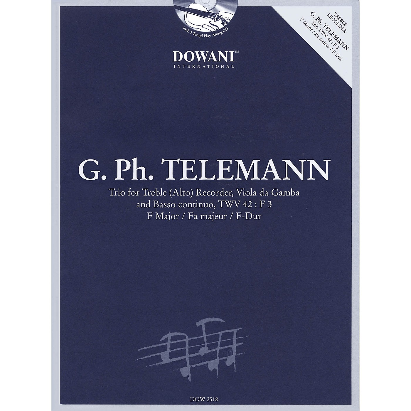 Dowani Editions Telemann: Trio for Treble (Alto) Recorder, Va, & Basso Cont TWV42 F Maj Dowani Book/CD thumbnail
