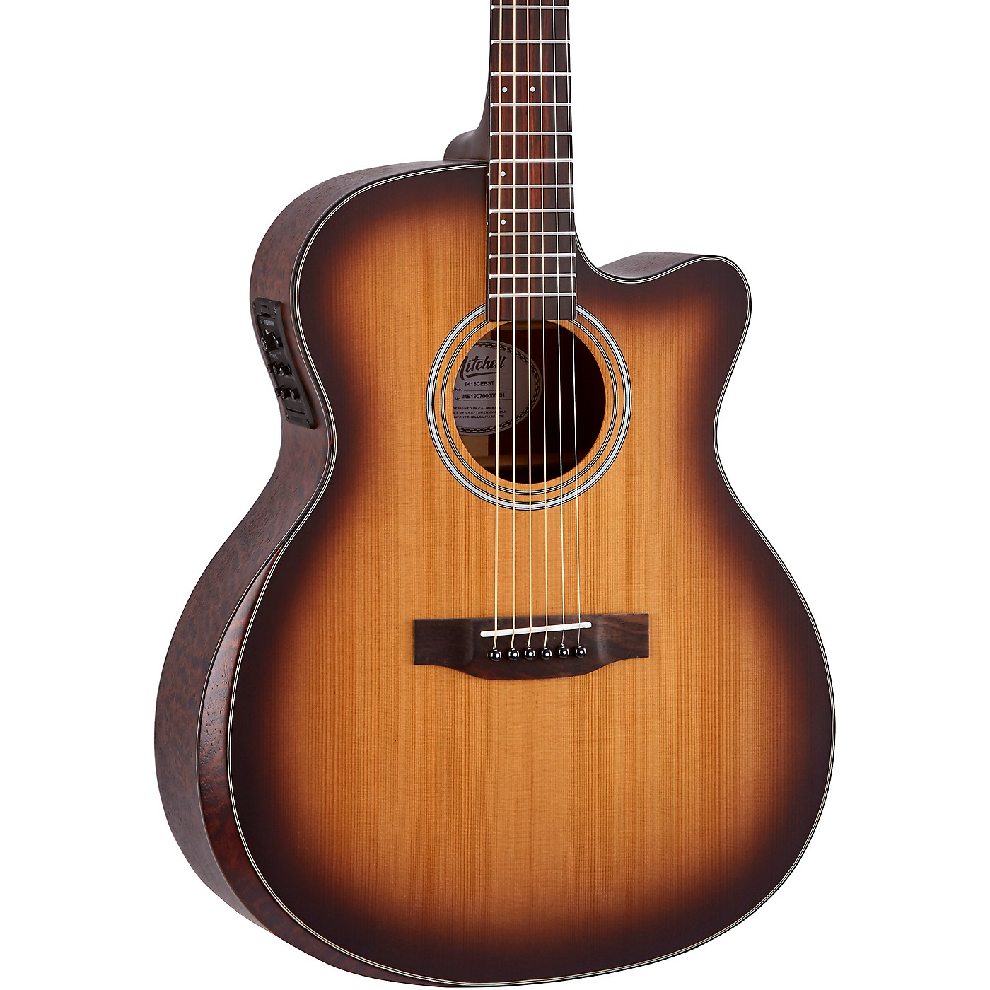 Mitchell Terra Series T413CEBST Auditorium Solid Torrefied Spruce Top Acoustic Electric Cutaway Guitar thumbnail