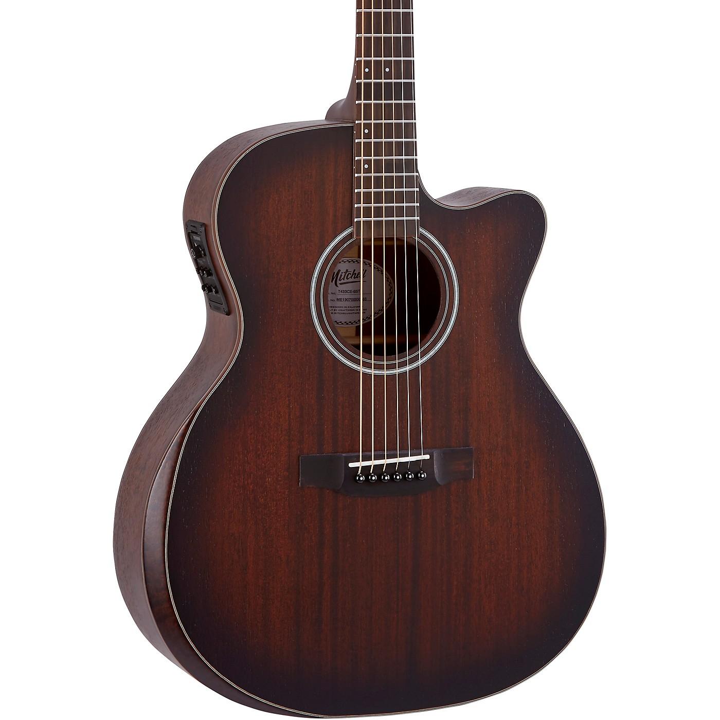 Mitchell Terra Series T433CEBST Auditorium Solid Mahogany Top Cutaway Guitar thumbnail
