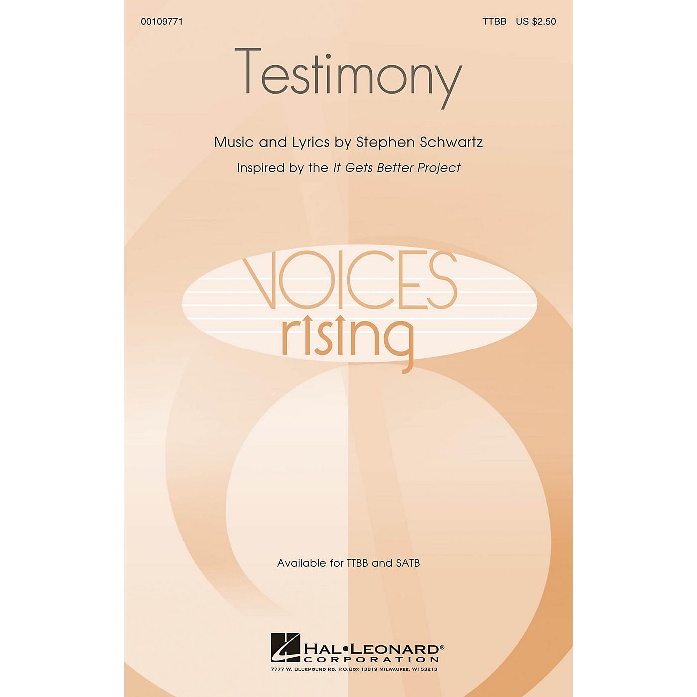 Hal Leonard Testimony TTBB composed by Stephen Schwartz thumbnail