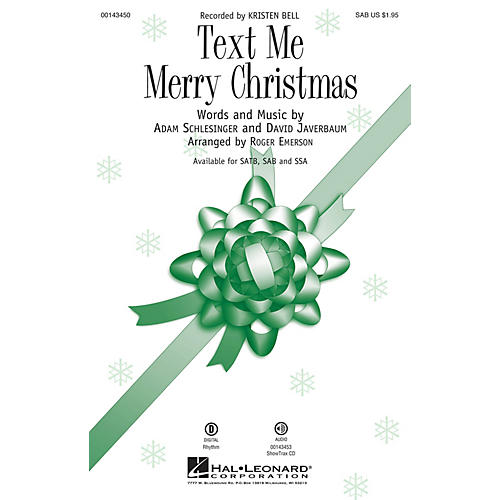 Hal Leonard Text Me Merry Christmas SAB by Kristen Bell arranged by Roger Emerson thumbnail