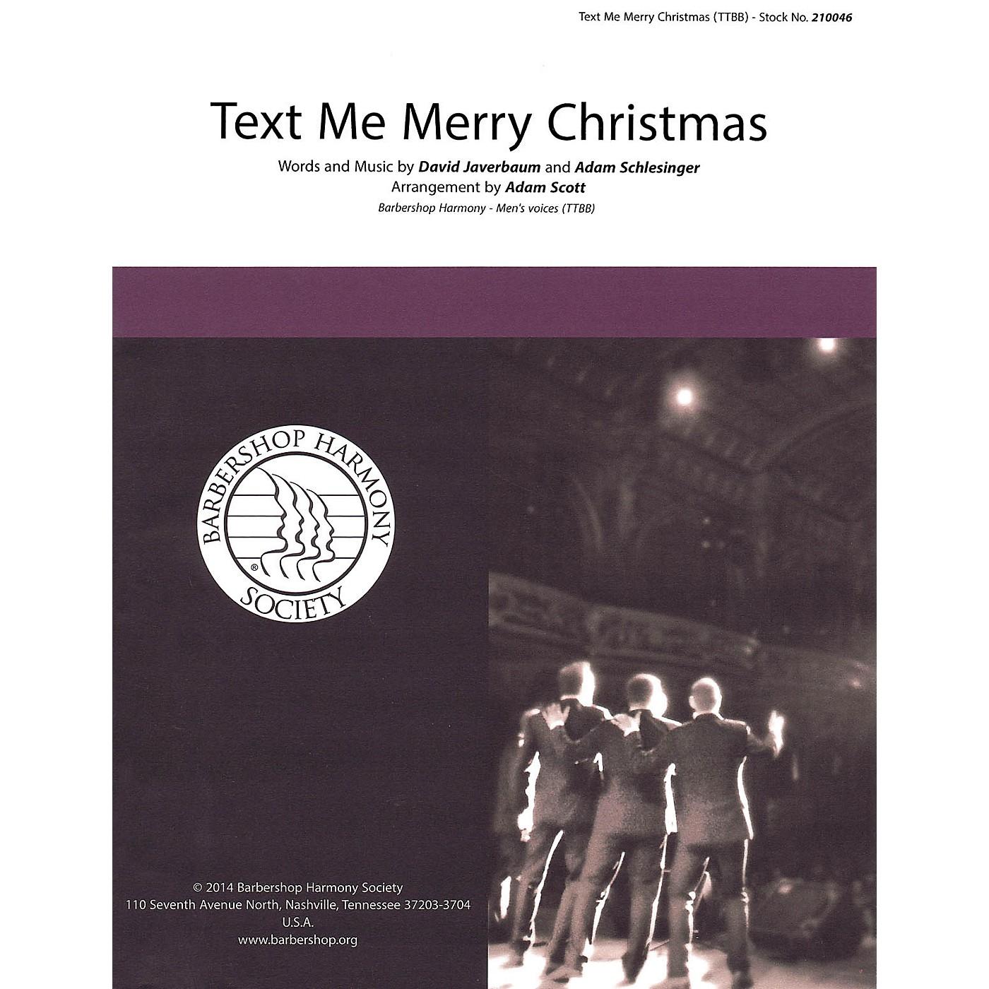 Barbershop Harmony Society Text Me Merry Christmas TTBB A Cappella arranged by Adam Scott thumbnail