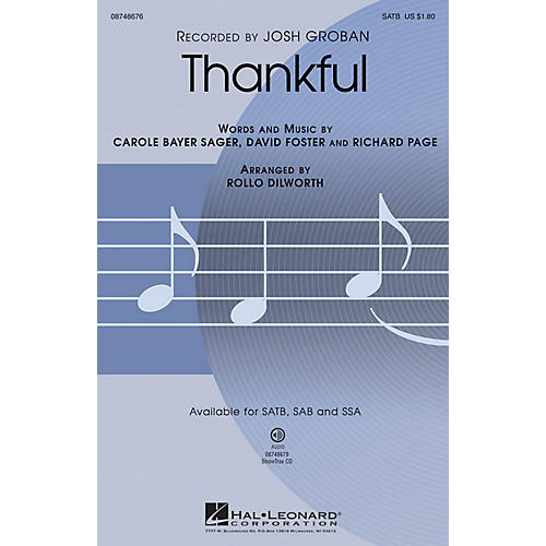 Hal Leonard Thankful SSA Arranged by Rollo Dilworth thumbnail