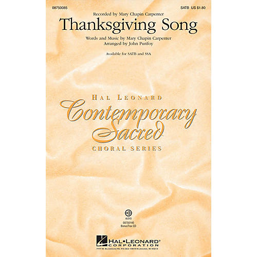 Hal Leonard Thanksgiving Song SSA by Mary Chapin Carpenter Arranged by John Purifoy thumbnail