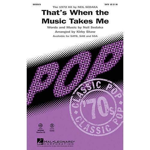 Hal Leonard That's When the Music Takes Me ShowTrax CD by Neil Sedaka Arranged by Kirby Shaw thumbnail