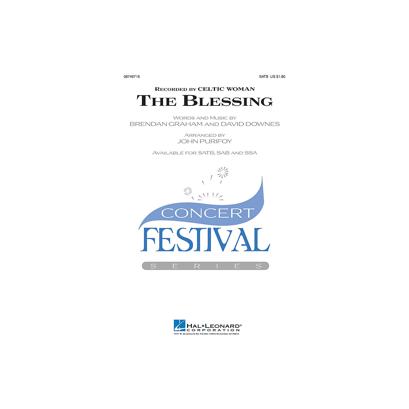 Hal Leonard The Blessing SATB by Celtic Woman arranged by John Purifoy thumbnail