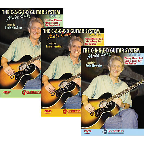 Homespun The C-A-G-E-D Guitar System Made Easy DVDs 1,2, & 3-thumbnail
