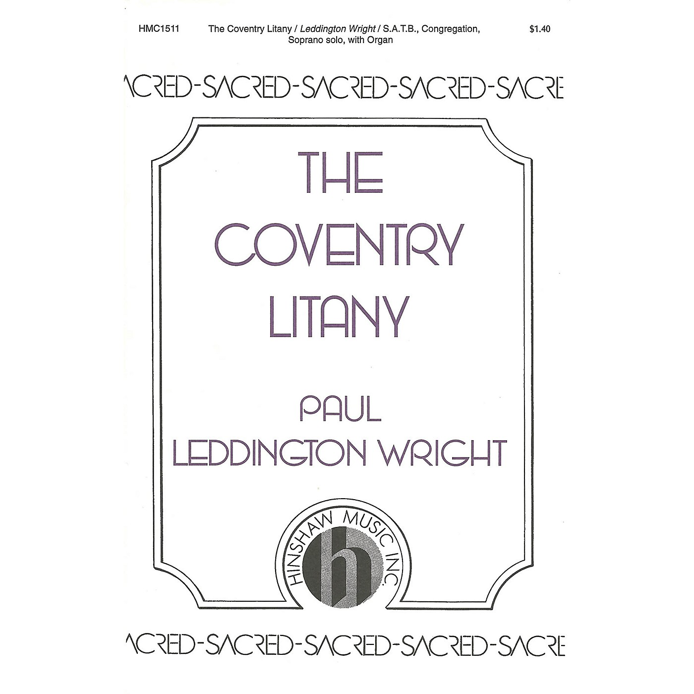 Hinshaw Music The Coventry Litany SATB composed by Paul Leddington Wright thumbnail