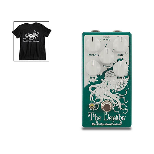EarthQuaker Devices The Depths V2 Optical Vibe Effects Pedal and Octoskull T-Shirt Large Black thumbnail