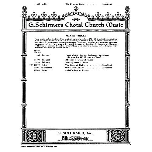 G. Schirmer The Feast of Light SATB composed by S Adler thumbnail