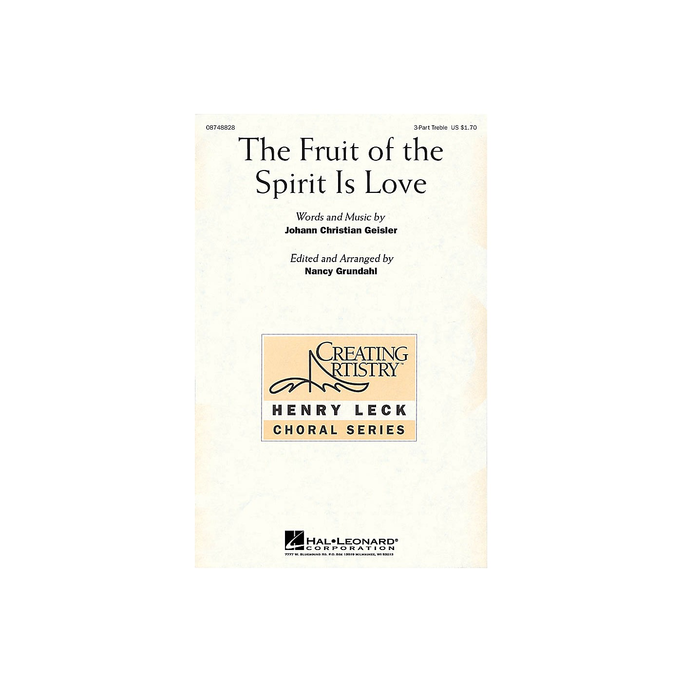 Hal Leonard The Fruit of the Spirit Is Love 3 Part Treble arranged by Nancy Grundahl thumbnail