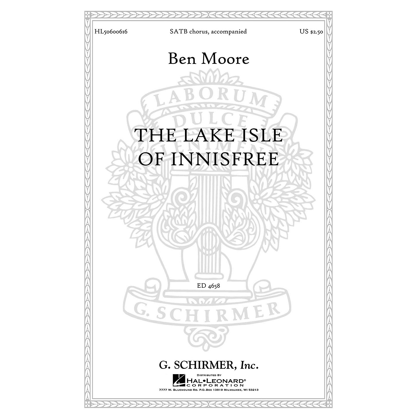 G. Schirmer The Lake Isle of Innisfree SATB composed by Ben Moore thumbnail
