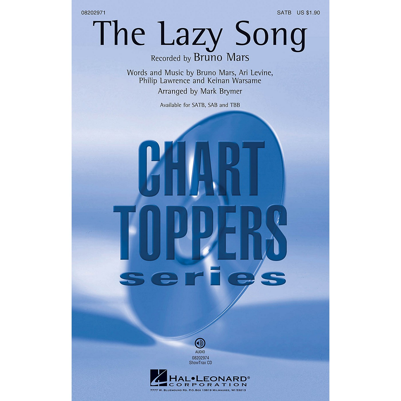 Hal Leonard The Lazy Song ShowTrax CD by Bruno Mars Arranged by Mark Brymer thumbnail