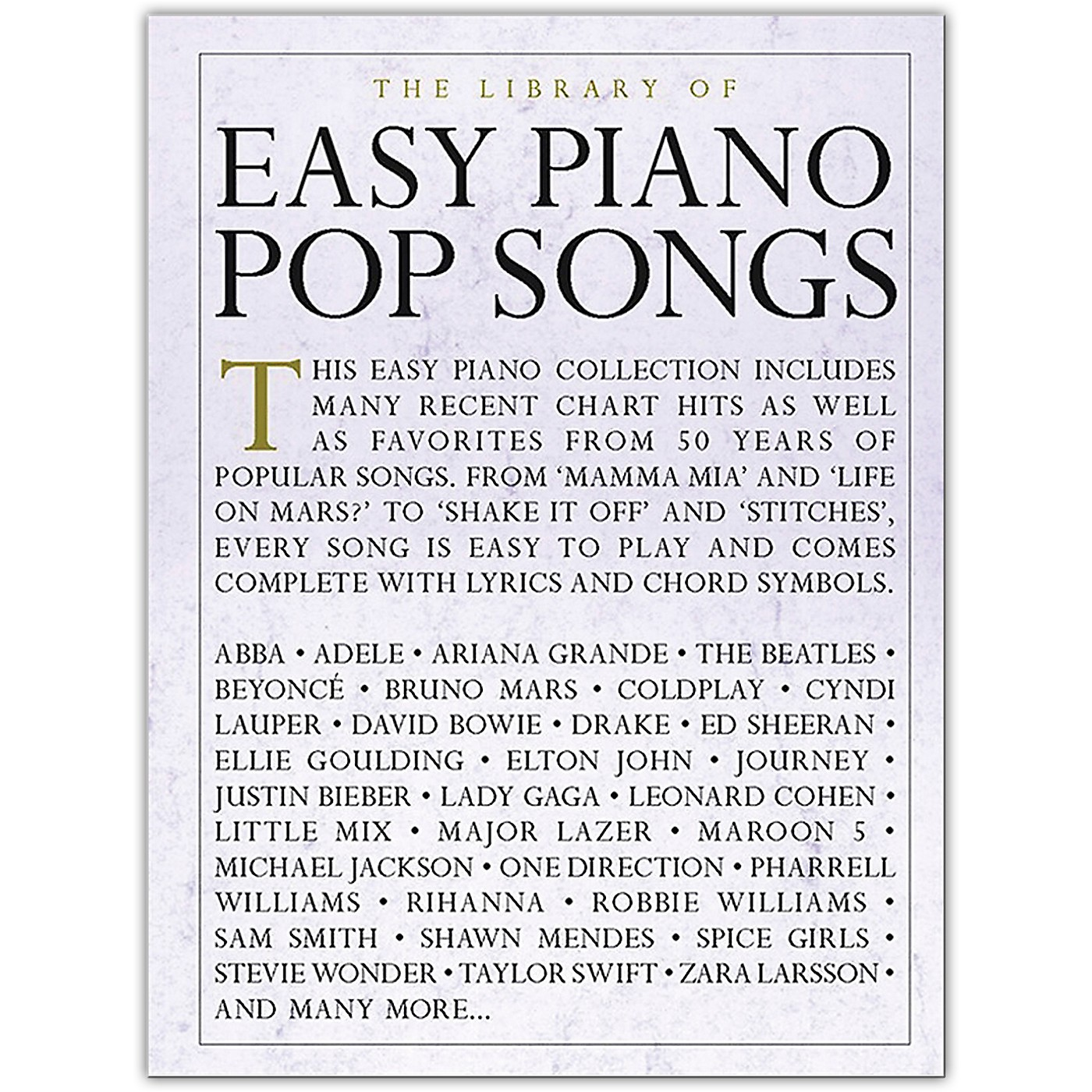 Music Sales The Library of Easy Piano Pop Songs thumbnail