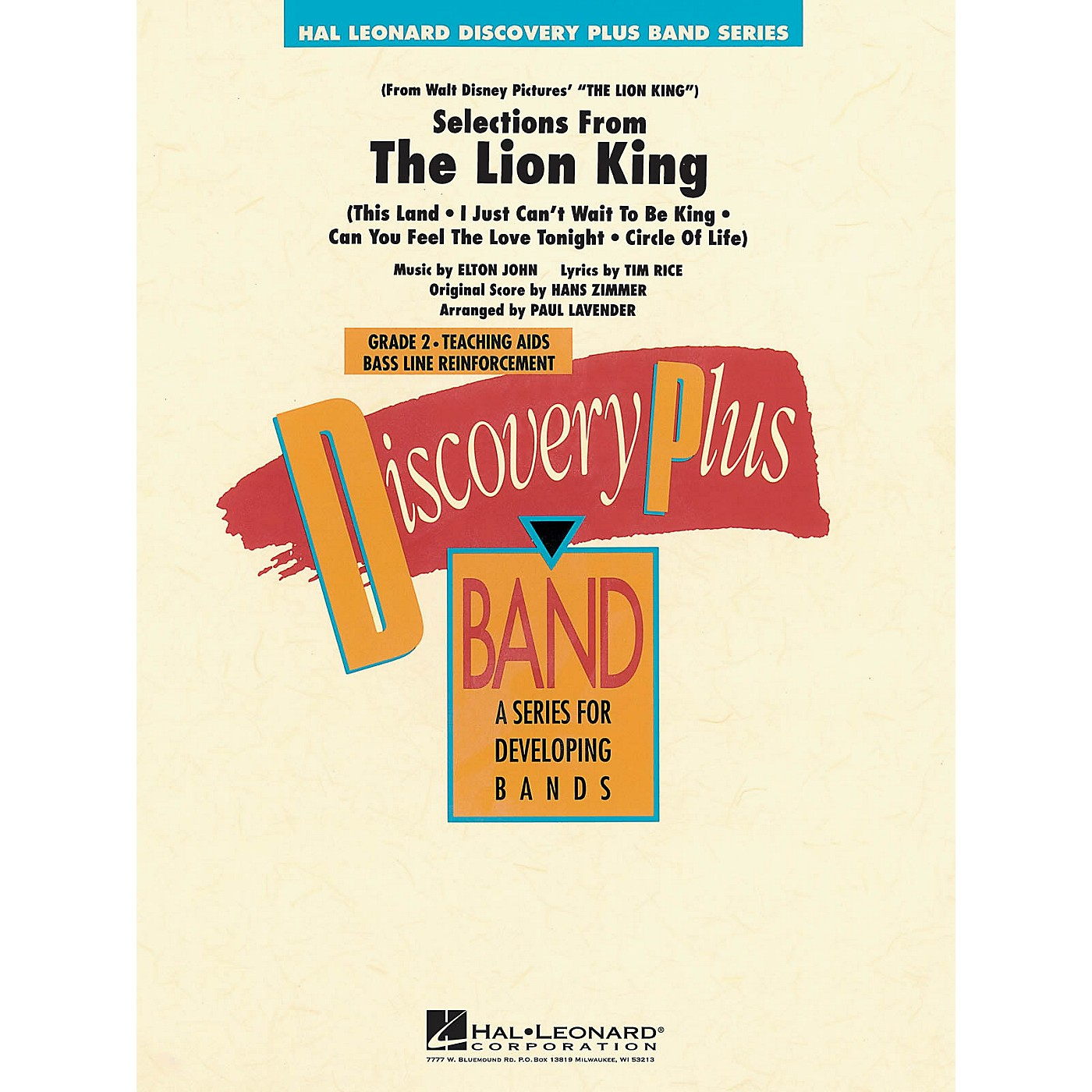 Hal Leonard The Lion King - Selections from - Discovery Plus Concert Band Series Level 2 arranged by Paul Lavender thumbnail