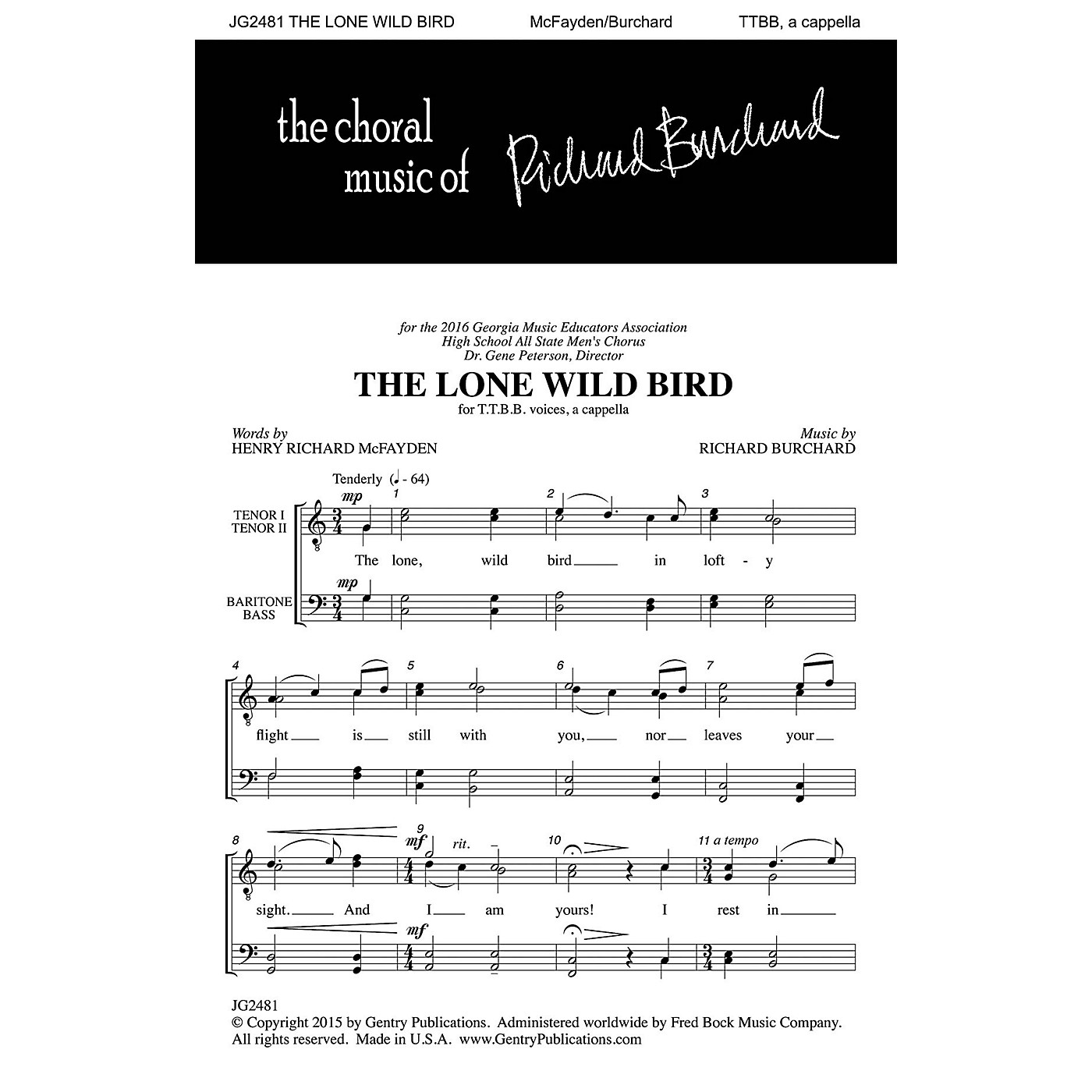 Gentry Publications The Lone Wild Bird TTBB A Cappella composed by Richard Burchard thumbnail