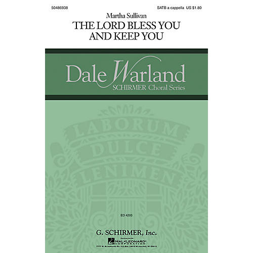G. Schirmer The Lord Bless You and Keep You (Dale Warland Choral Series) SATB a cappella composed by Martha Sullivan thumbnail