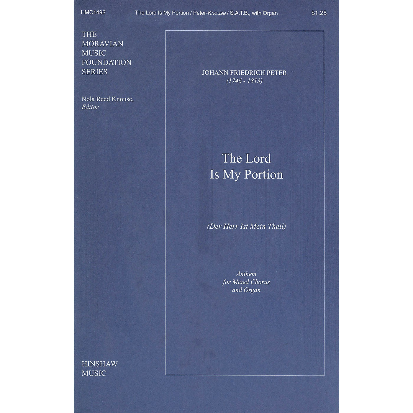Hinshaw Music The Lord Is My Portion (Der Herr Ist Mein Theil) SATB composed by Peter thumbnail