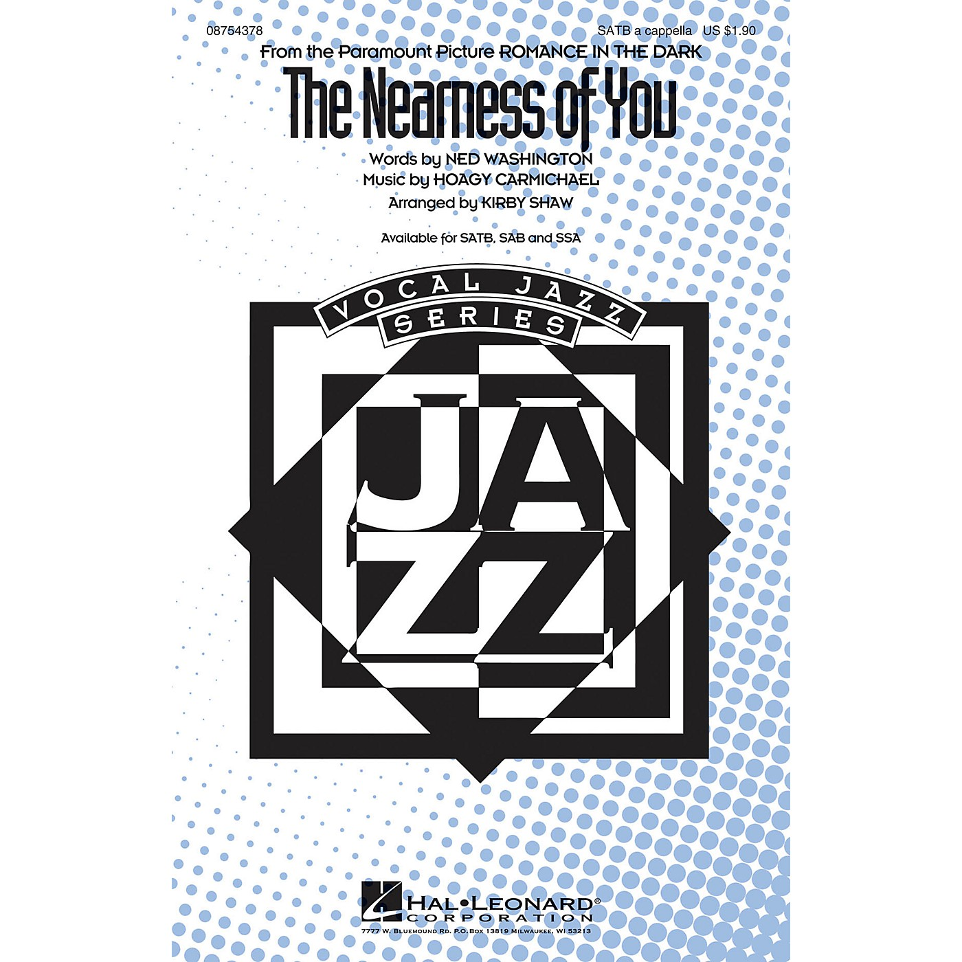 Hal Leonard The Nearness of You SATB a cappella arranged by Kirby Shaw thumbnail