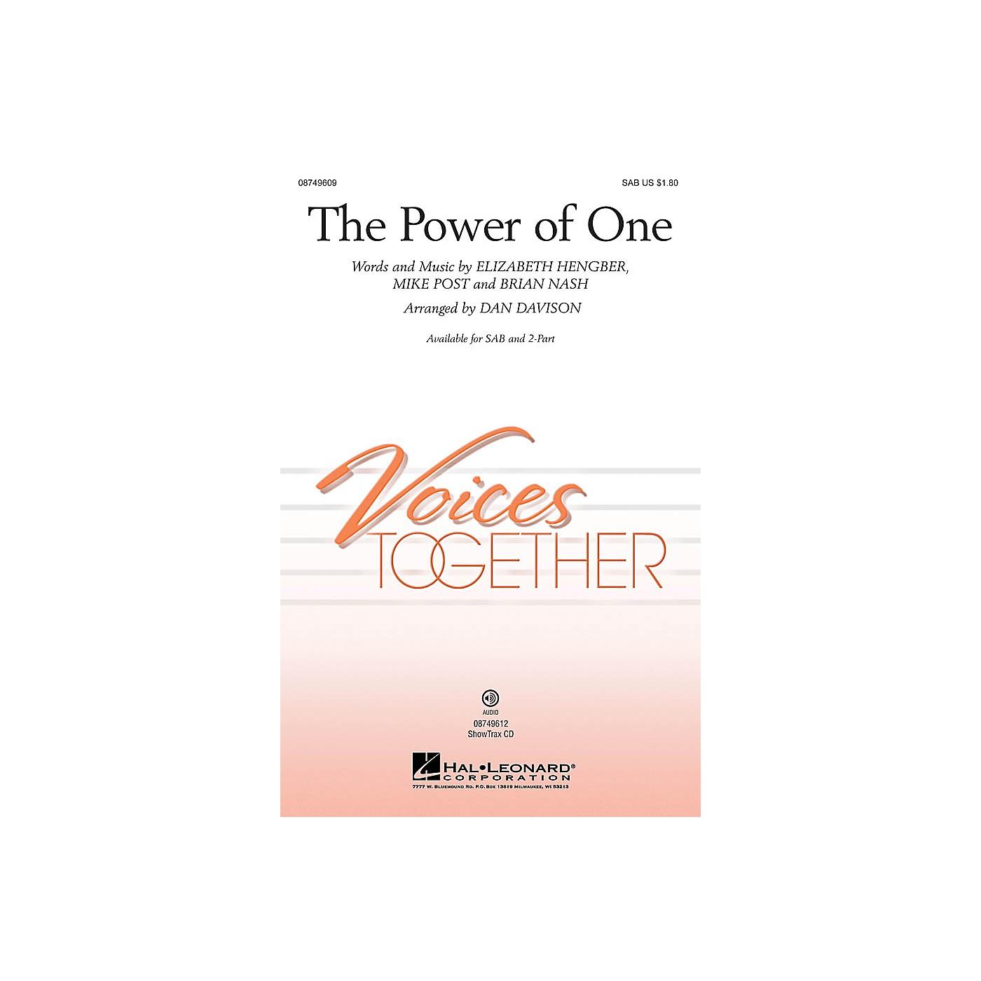 Hal Leonard The Power of One 2-Part Arranged by Dan Davison thumbnail