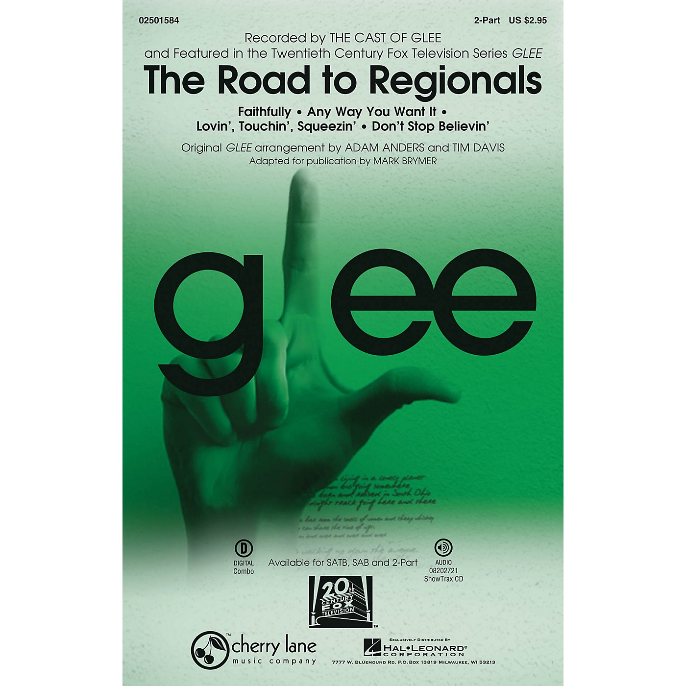 Cherry Lane The Road to Regionals (Choral Medley) (featured on Glee) 2-Part by Glee Cast arranged by Adam Anders thumbnail