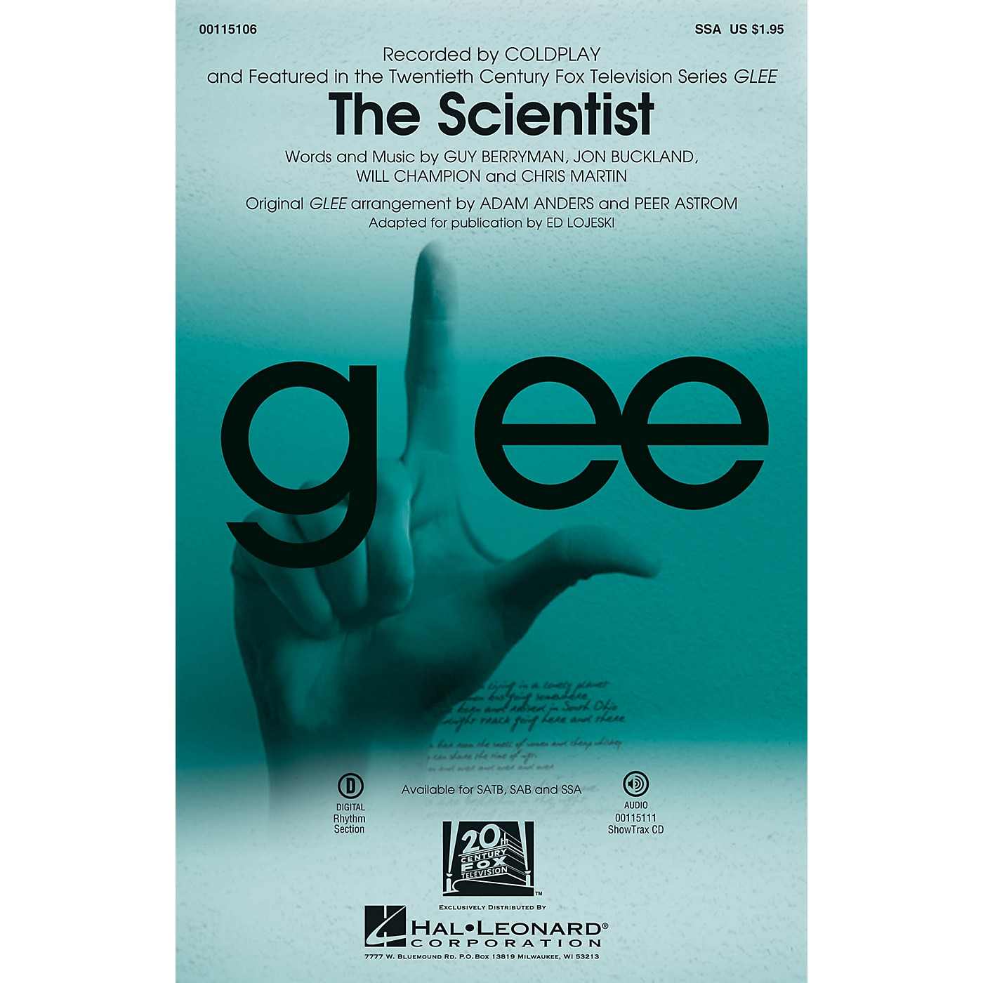 Hal Leonard The Scientist SSA by Glee Cast arranged by Adam Anders thumbnail